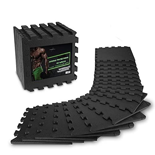 Estera protectora de suelo para fitness AthleticPro [31 x 31 cm] - 18 esteras extragruesas [20 % más de protección] - Esteras protectoras antideslizantes para salas y máquinas de fitness