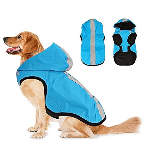 Cani Impermeabile, Impermeabile Cani con Cappuccio, Animale Domestico Cappotto Pioggia, Poncho per Animali, Mantella Pioggia Cane con Strisce Riflettenti, per Cani Di Taglia Media