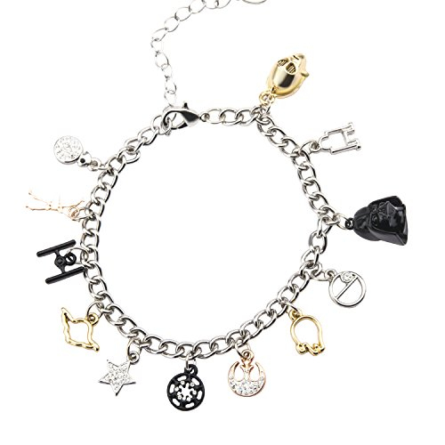 Star Wars Jewelry Men's Multi Charm Stainless Steel Charm Bracelet, 7.5-Inch + 2-Inch extender, Silver, Expandable
