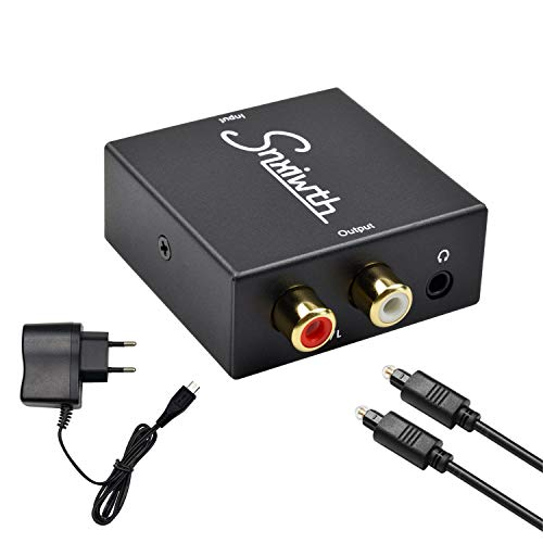 Snxiwth Audio Konverter Digital auf Analog Wandler Koaxial Optischer zu Analog Stereo Audio RCA L/R und 3,5 mm Klinke Audio Decoder für PS3, Xbox, HD DVD, TV