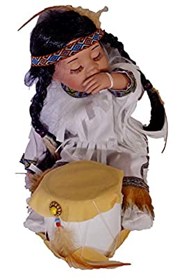 """14"""" Limited Edition Collectable Native American/Indian Drummer Boy Porcelain Doll"""