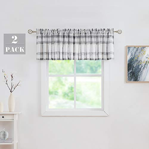 "White Black Check Valance Curtain for Kitchen Linen Blend Semi Sheers Rod Pocket Rustic Farmhouse Style Window Treatment Drape for Living Room, 2 Panels, 54"" x18""x2, Black/White"