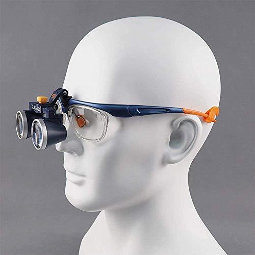 IF.HLMF Lupa con luz para Dentistas Manos Libres, lupas binoculares quirúrgicas, Lente extraíble, Ajuste de ángulo, Elegante Marco, Azul