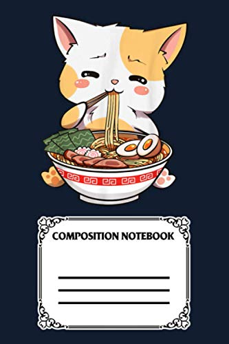 Kawaii Neko Ramen Cute Ramen Cat Japanese Noodle Funny Anime VGB8T Notebook: 120 Wide Lined Pages - 6' x 9' - College Ruled Journal Book, Planner, Diary for Women, Men, Teens, and Children