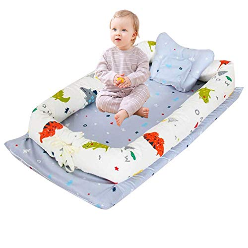 Abreeze Baby Bassinet for Bed -Crocodile Printed Baby Lounger - Breathable & Hypoallergenic Co-Sleeping Baby Bed - 100% Cotton Portable Crib for for Bedroom/Travel