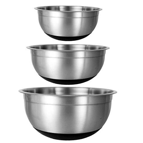 Mélangeur/à salade bols, EN ACIER INOXYDABLE poli miroir Finition gigognes bols, avec fond en silicone antidérapant et couvercle pour servir, cuisson, cuisson set of 3 (18cm + 20cm +24cm ) Voir image