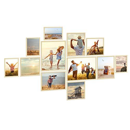PHOTOLINI 12er Bilderrahmen-Set Natur aus Massivholz Schmal 21x30 bis 40x50 cm mit Glasscheibe inkl. Zubehör | Bildergalerie | Bilderwand | Wandgalerie