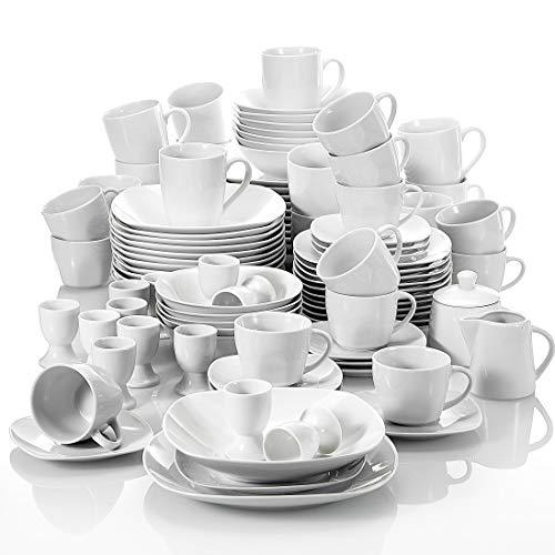 MALACASA, Serie Elisa, 100-teilig Tafelservice aus Porzellan, Kombiservice Frühstückservice Kaffeeservice mit Eierbecher, Kaffeetassen, MüsliSchälen, Dessertteller usw. für 12 Personen Grauweiß