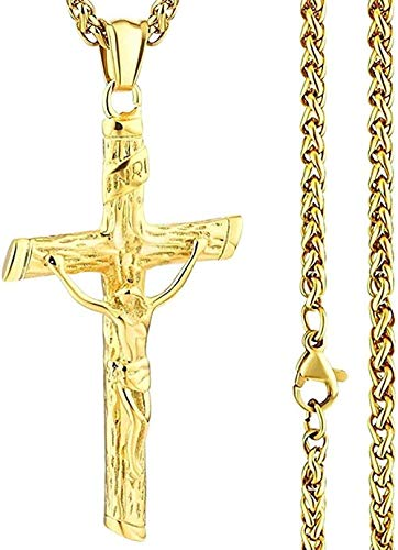 Yiffshunl Collar Elegante Cadena de Eslabones de Acero Inoxidable INRI Jesús Cruz Crucifijo Colgantes y Collares Hombres Joyas Oro Plata Color Regalo para Padre
