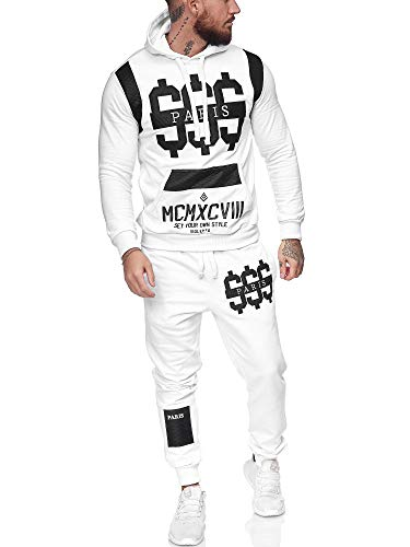 Leder Herren Jogging Anzug Jacke Sport Hose Fitness Hoodie Hose S16 S-XXL (L, Weiß)