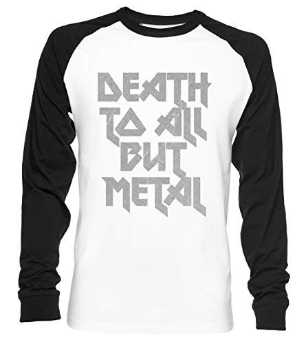 Death to All But Metal Unisex Baseball T-Shirt Langarm Herren Damen Weiß Schwarz