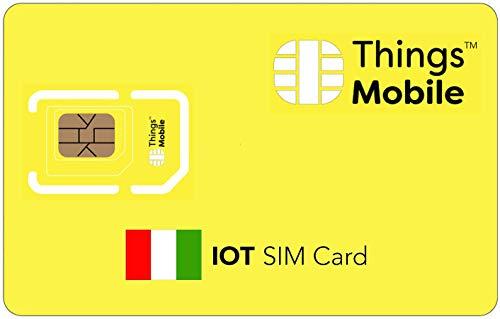 DATEN-SIM-Karte IOT ITALIEN - Things Mobile - mit weltweiter Netzabdeckung und Mehrfachanbieternetz GSM/2G/3G/4G. Ohne Fixkosten und ohne Verfallsdatum. 10 € Guthaben inklusive