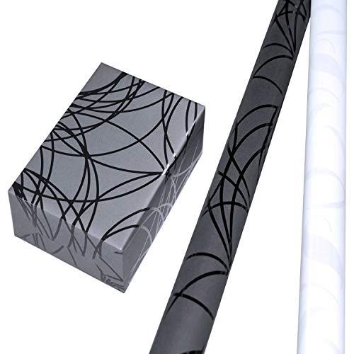Geschenkpapier Set 2 Rollen (75 x 150 cm), perlglanz-Ornamente mit Fond in Matt-Weiß, Rückseite Silber + Lack-Linien-Geschenkpapier mit Hintergrund schwarz. Für Geburtstag, Weihnachten.