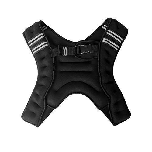 Gvqng 5 Kg / 8 Kg / 10 Kg Gewichtsweste, X Style Laufweste, mit Reflektierendem Streifen und Tasche, Trainingsweste für Krafttraining, Laufen, Fitness, Cross Training,Schwarz,5KG