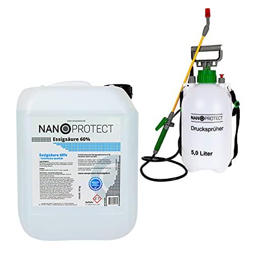 Nanoprotect Essigsäure 60{711987ab1c03be190c6c17f8e7cf462e3e77f41cdea6278020f9f1055c098168} | 10 kg inkl. Drucksprüher | Premium Qualität | Deutsche Ware