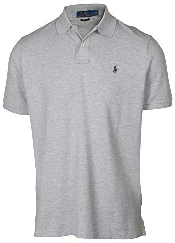 Polo Ralph Lauren Mens Classic Mesh Polo Shirt (L, Cloud Grey)