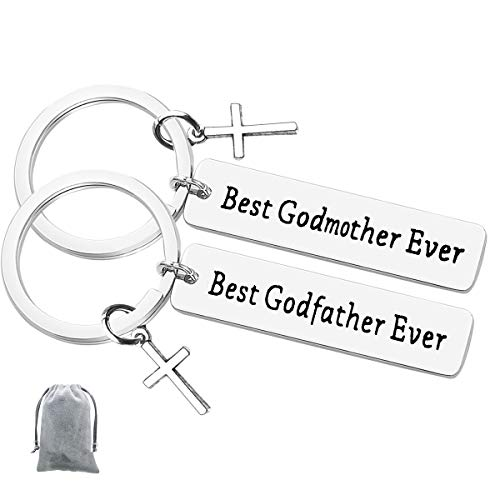 Godparent Gifts from Godchild for Baptism Best Godmother Godfather Ever Keychain Set Godmother Keychain Godfather Keychain Christening Gift First Communion Gift Godparent Gifts for Baptism
