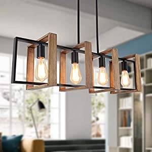 "35.4"" Kitchen Island Lighting,4 - Light Dining Room Farmhouse Chandelier,Black Modern Pendant Lighting,Pool Table Lights,Wood and Matte Black Metal Finish"