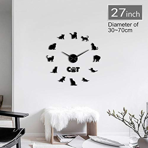 HDNFW Horloge Murale 3D Drôle Mau Cat Graphique 3D DIY Horloge Murale Chaton Race Animal Miroir Surface Acrylique Horloge Montre Pet Shop Décoration Murale-37inch
