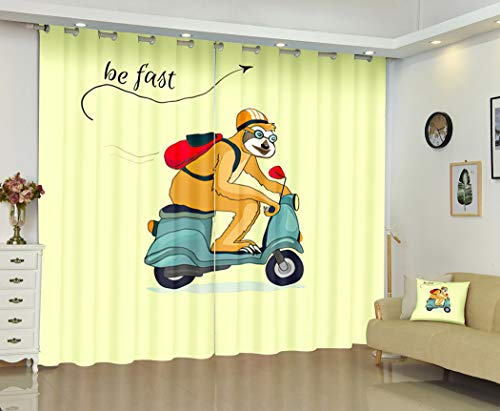 Sloth Curtains,Sloth Riding A Blue Scooter A Sloth Travels Motorcycle Helmet Stationery,Soundproof 100% Blackout Curtains for Bedroom Living Room Window Drapes 2 Panel Set,108X80 Inches