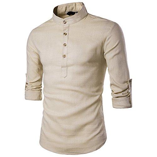 CICIYONER Herren Hemd Kurzarm Langarm Leinenhemd Kariert Sommer Freizeit Leinen Beiläufig Shirts Strand Hemden Men´s Poloshirts S-2XL
