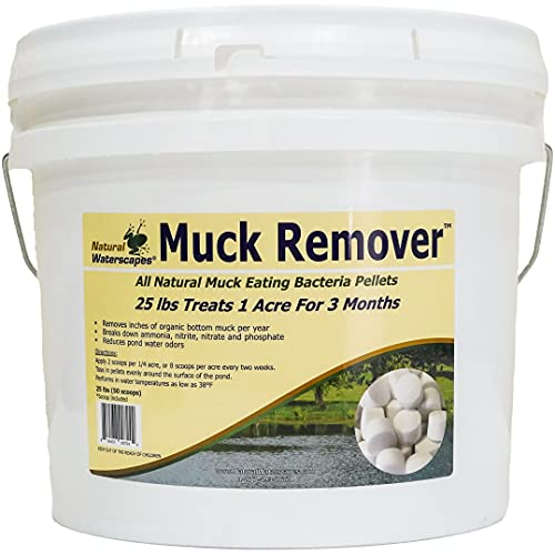 Natural Waterscapes Muck Remover Pellets 25 lb (50 Scoops) | Pond Sludge Remover, Lake Muck Removal | 1-Scoop Pond Tablets Treats 5000 Square feet