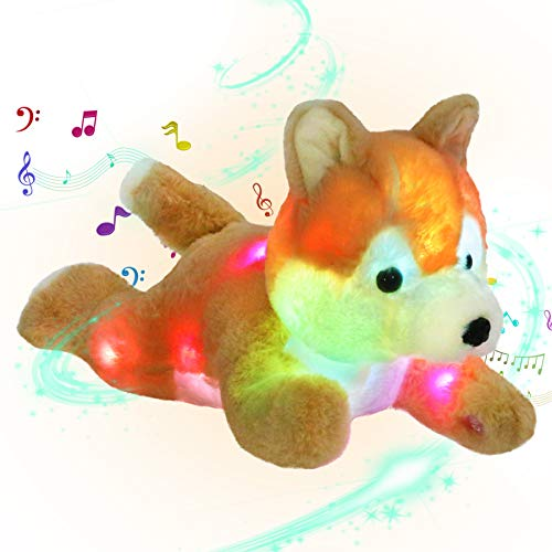 Bstaofy Musical LED Shiba Inu Stuffed Animal Light up Puppy Plush Toys Dog Inside Ten Songs Gift for Kids Toddlers on Birthday Christmas Easter (Style 2)