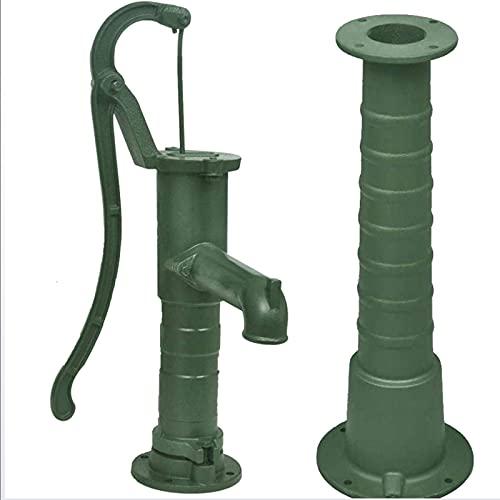 wenhu Gartenwasserpumpe mit Stand Gusseisen Grüner Hinterhof Teich im Freien, Haushaltspumpe Wasser Presse