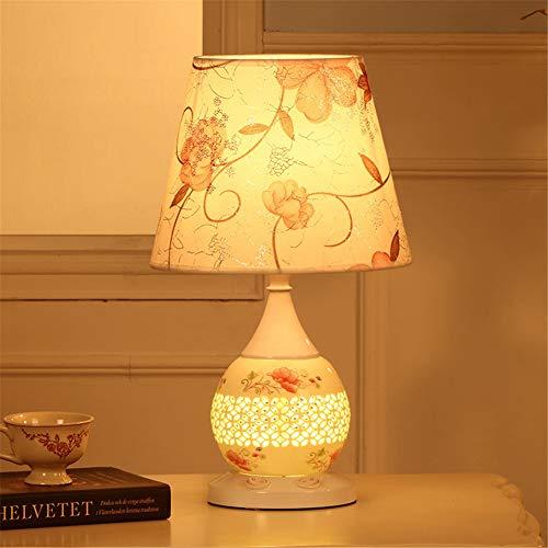 Lámpara de mesa de noche E27 Lámpara de mesa de cerámica con pantal