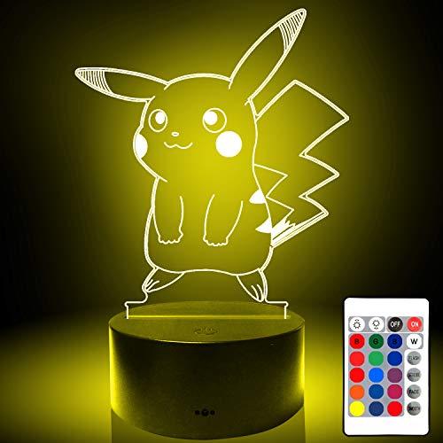 3D Pikachu LED16 telecomando a colori dimmerabile touch decorazione luce notturna, compleanno, regali di Natale e Capodanno per ragazzi e ragazze, camera da letto lampada da tavolo per bambini