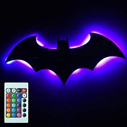ZHYY Mando a Distancia Luz de Colores LED luz de Pared Batman USB LED proyección de luz de Espejo luz de Noche Simple Dormitorio/KTV/Corredor/Fondo Luces Pared