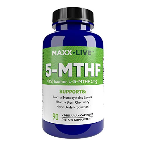 MAXX LIVE L-Methylfolate 1mg Active Folate 5 Mthfr Support Supplement Professional Strength Methyl Folate - Essential Amino Acids & Brain Supplement- 90 Vegan Capsules