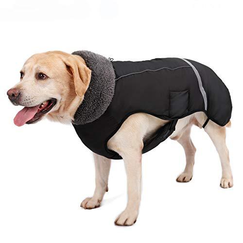 TFENG Reflektierend Hundejacke, Wasserdicht Hundemantel Warm gepolstert Puffer Weste Welpen Regenmantel mit Fleece für Hunde (Schwarz, Größe L