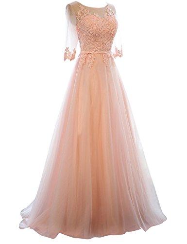 Abendkleider Ballkleider Hochzeitskleider Festkleider Lang Damen Tüll Kurzarm A-Linie Rosa EUR32