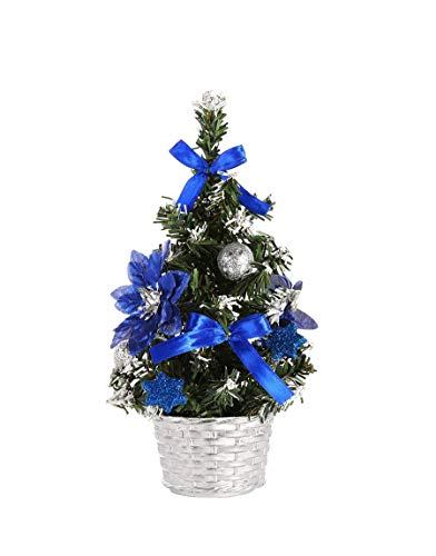 Prudance 8 inch Tall Mini Tabletop Christmas Trees Decor Merry Christmas Trees Festival Decorations for Christmas (Blue)