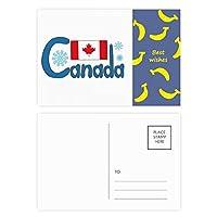 カナダの国旗青いパターン バナナのポストカードセットサンクスカード郵送側20個