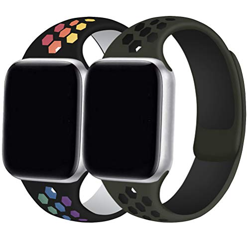 [2 pack] Cinturino Compatibile per Watch Cinturini 44mm 42mm 40mm 38mm Cinturino di Ricambio Sport morbido Silicone per Watch Series 5 4 3 2 1 S/M, M/L