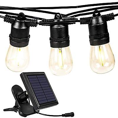kalokelvin Solar String Lights 27FT Outdoor Waterproof IPX5 with 10 Sockets for Backyard Party Wedding Garden-Warm White