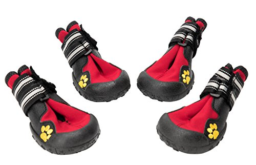 BINGPET Waterproof Dog Boots Rubber Non Slip Red Dogs Walking Shoes Paw Protectors Size 6