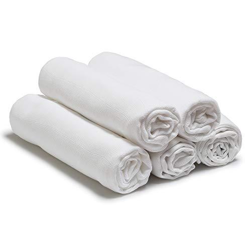 Niimo Muselina Bebe Algodon 80x80 cm 10 Piezas en 100% Algodón Suave Manta Abrigo Multifuncional Cuadrados para Niños Nacido Toalla de Bebé (Blanco)