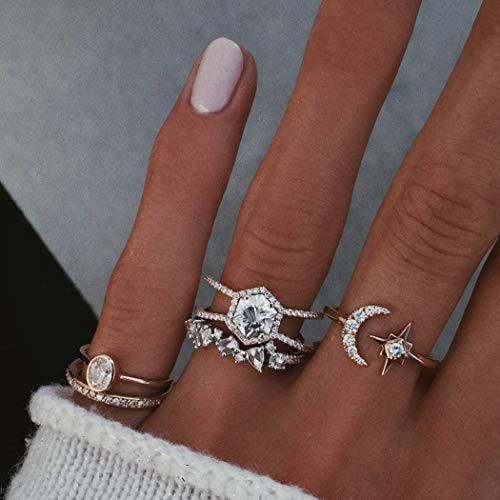 Simsly Vintage Crystal Knuckler Rings Gold Joint Knuckle Star Rings Set for Women and Girls(5pcs)