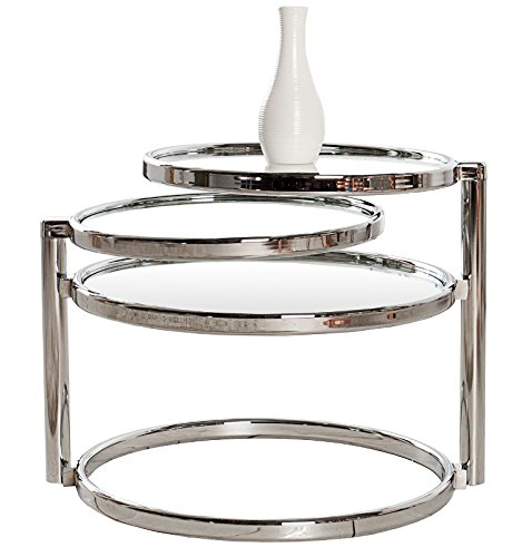 DuNord Design Beistelltisch Glas Chrom Couchtisch Art Deco Design Retro