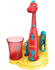 Brusheez® Kids Electric Toothbrush Set (Carnivore Edition) - Battery Operated, Soft Bristles, Easy On/Off, 2 Brush Heads, Animal Cover, Sand Timer, Rinse Cup, and Base - Ages 3+