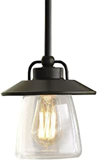 allen + roth Mission Bronze Edison Mini Pendant Light with Clear