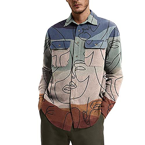 Shirts For Men Men'S Button Up Shirts Fall Spring Lapel Neck Long Sleeve Jacket Graphic Casual Outwear With Pockets