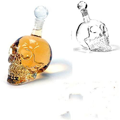 XLLQYY copas de vino sin tallo creativas extranjero cráneo botella de vidrio aislamiento dispensador copas de vino tazas de vino reutilizables