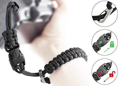 Kamera-Handschlaufe aus Paracord - 2X klick-Verschluss mit Sperre für DSLR und Kompakt-Kamera - SCHWARZ - Handgelenk-Schlaufe Kameraschlaufe Kameraband Trageschlaufe - MIND CARE ESSENTIALS