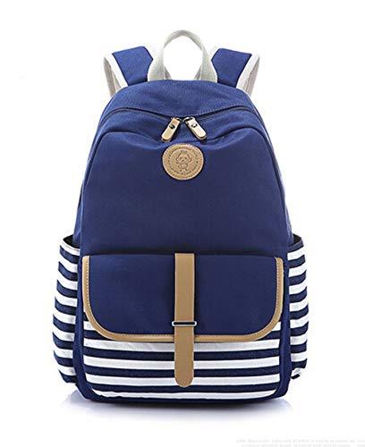 LifeWheel Striped Backpack Canvas Rucksack School Bags for Women Ladies Girls