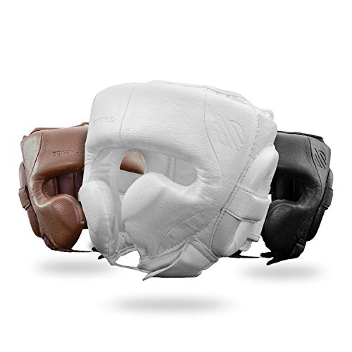 Sanabul Battle Forged Professional Boxing MMA Kickboxing Head Gear (White, Large)