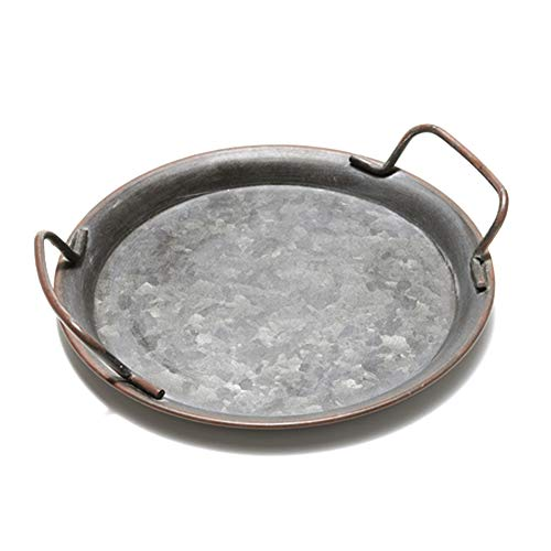 Gelentea - Bandeja de Metal para Servir Platos de Estilo Vintage francés, vajilla de Metal para té, vajilla de Metal, diseño rústico rústico, Circular, Large